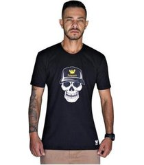 camiseta caveira manga curta relaxado - masculino