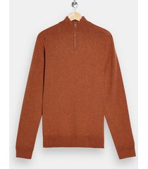 mens brown rust turtle neck zip knitted sweater