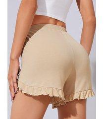 yoins shorts casuales con cintura elástica y dobladillo con volantes