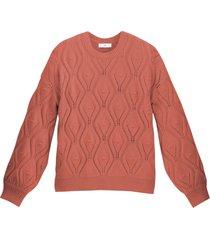 grovstickad tröja med hålmönster och rund halsringning