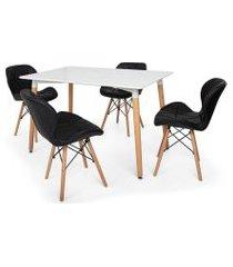 kit mesa jantar eiffel 120x80 branca + 04 cadeiras slim - preta