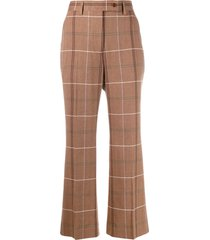 acne studios flared crop trousers - brown