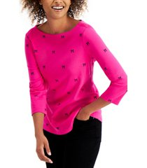 charter club cotton bow-print 3/4-sleeve top, created for macy's