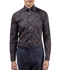men's eton slim fit floral dress shirt, size 15.5 - blue