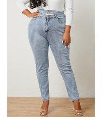 recorte de bolsillos laterales de talla grande pantalones