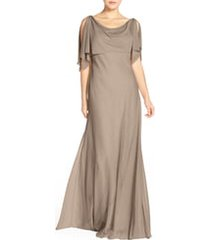 women's jenny yoo devon glitter knit gown with detachable capelet