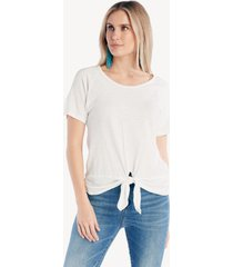 sanctuary women's lou ruched tie tee in color: white jasmine size large from sole society