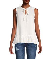 saks fifth avenue women's chambray sleeveless peplum top - light indigo - size m