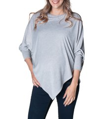women's bun maternity asymmetrical nursing/maternity poncho, size large/x-large - grey