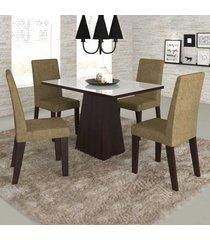 mesa de jantar 4 lugares merengue com vidro branco 11571 ameixa/neve - mobilarte móveis