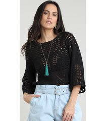 blusa feminina em tricô manga 3/4 decote redondo preta