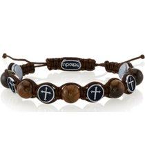 he rocks tiger eye stone and stainless steel cross bead cord bracelet