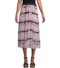 wdny women's accordion pleated tie-dye midi skirt - pink black - size xl