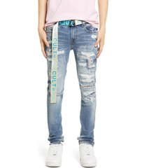 men's big & tall cult of individuality belted punk super skinny jeans, size 44 - blue