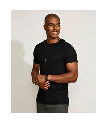 camiseta masculina slim manga curta gola careca preta
