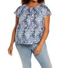 plus size women's caslon petal sleeve top, size 1x - white