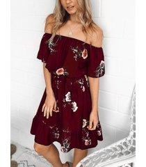 yoins borgoña estampado floral aleatorio con hombros alzados diseño vestido