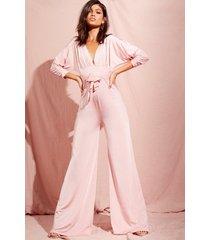batwing drape front wide leg slinky jumpsuit, rose