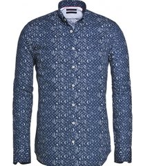 blue industry blauw perfect fit slim fit overhemd