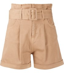 federica tosi belted high-waisted shorts - neutrals