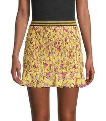 for love & lemons women's odette floral smocked mini skirt - yellow - size xs