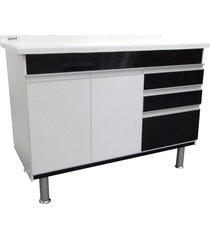 gabinete para cozinha em mdf ferrara 120x70cm preto