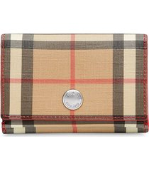 burberry small vintage check e-canvas folding wallet - red