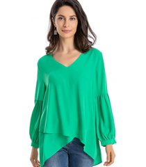 blusa capas asimétrica verde nicopoly