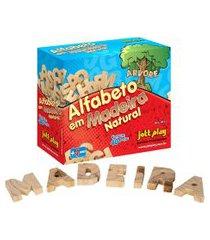 alfabeto móvel jott play recortado em madeira 40 peças natural