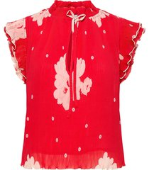 pleated georgette blouse mouwloos rood ganni