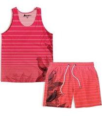 kit maravs regata verão + short moda praia listras masculino - masculino