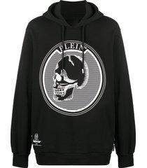 philipp plein outline skull hooded longline sweatshirt - black