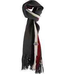 moncler rib knit logo patch scarf