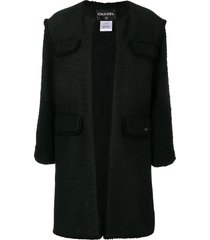 chanel pre-owned frayed open coat - black