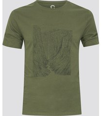 t-shirt i bomull med tryck - olivgrön