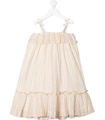bonpoint lurex striped trapeze dress - neutrals