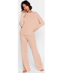womens high-waisted sweater and ribbed pants lounge set - nude