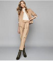 reiss calia - wool blend bomber jacket in camel, womens, size 10