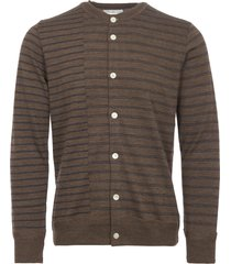 still by hand brown striped crew neck cardigan kn0573-brn