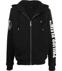 philipp plein cowboy embellished hoodie - black