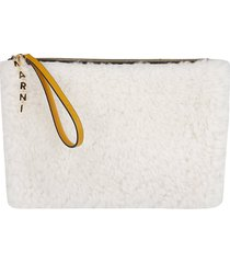 marni white and orange fur and leather pouch