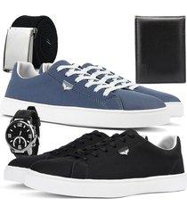 kit 2 pares de sapatãªnis skateboard sapatofran casual azul e preto com relã³gio, cinto e carteira - azul marinho - masculino - lona - dafiti