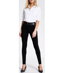 river island womens black pu and ponte cigarette trousers