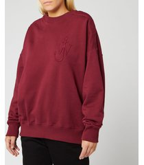 jw anderson women's oversized shoulder placket sweatshirt - malbec - l - red