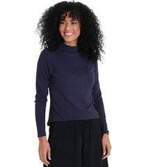 blusa gola alta canelada feminina - feminino