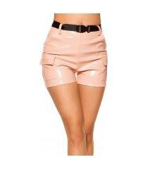 sexy wetlook hoge taille shorts met riem roze