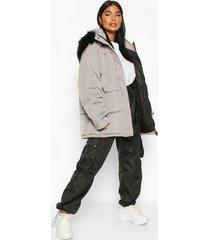 petite faux fur hooded puffer jacket, grey