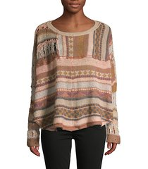 patchwork open knit sweater