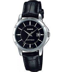 reloj casio dama ltpv004l-1a pulso en cuero resistente al agua original