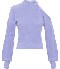 blusa feminina tricot decote ombro - lilás